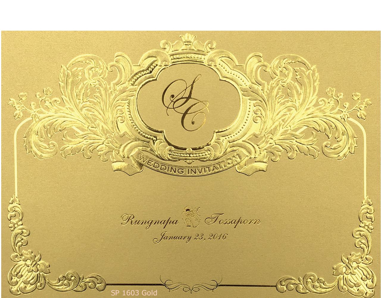 การ์ดแต่งงาน การ์ดเชิญ สีมุกทอง 2 พับ พิมพ์ทอง แบบเรียบหรู ลวดลายปั๊มนูน พิมพ์ทองเค Wedding card 15.321.3 cm SP 1603 Gold