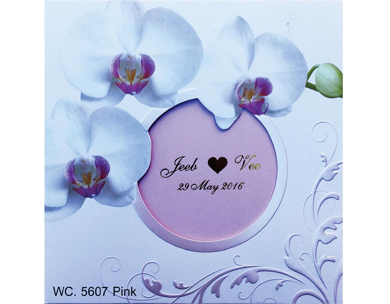 การ์ดแต่งงาน การ์ดเชิญ สีชมพู ลวดลายดอกไม้ wedding card 14.8 x 14.8 WC 5607 Pink ฿ 8.20