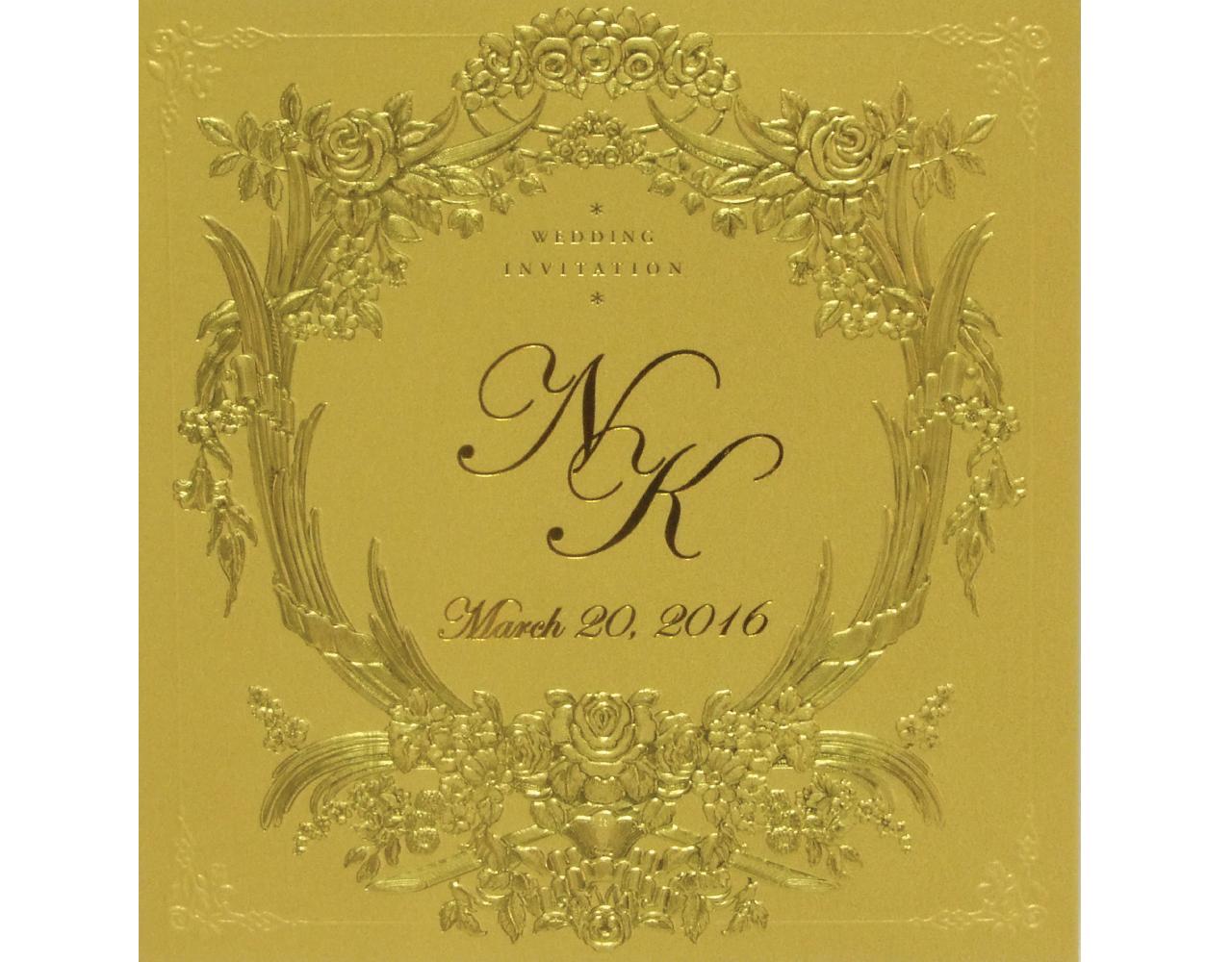การ์ดแต่งงาน การ์ดเชิญ สีมุกทอง การ์ดพร้อมซองและกระดาษไส้ใน wedding card 17 x 17.5 cm SP 1610 Gold ฿ 9.50