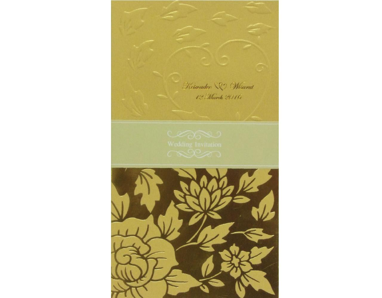 การ์ดแต่งงาน การ์ดเชิญงานแต่ง กระดาษมุกทอง การ์ดแนวตั้ง พร้อมซองและสายคาด wedding card 22.2 x 12.5 cm SP 1606 Gold ฿ 9.50