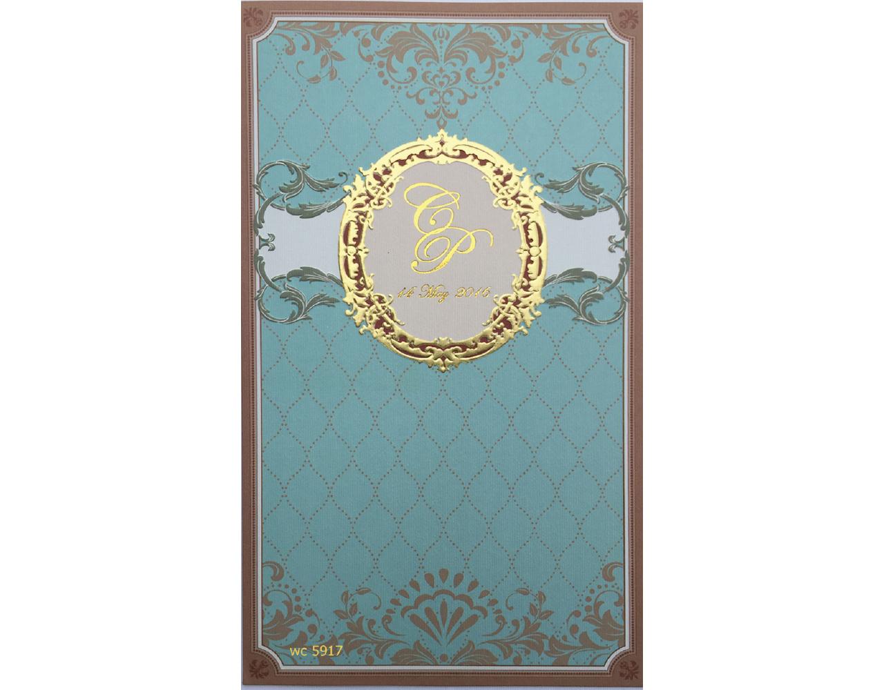 การ์ดแต่งงาน การ์ดเชิญ สีฟ้า แนวตั้ง 2 พับ การ์ดพร้อมซอง wedding card 4.8x8.3 inch wc 5917
