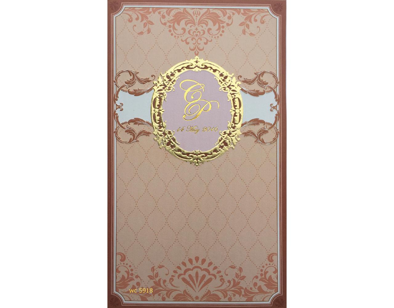 การ์ดแต่งงาน การ์ดเชิญแนวตั้ง สี น้ำตาล พิมพ์ทอง wedding card 4.8x8.3 wc 5918