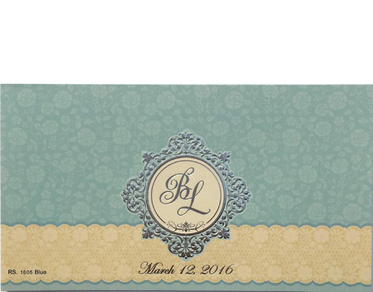 การ์ดแต่งงาน การ์ดเชิญแต่งงาน สีครีมฟ้า ราคาถูกๆ ปั๊มนูน ลายดอกไม้ wedding card 4x7.5 inch RS 1605