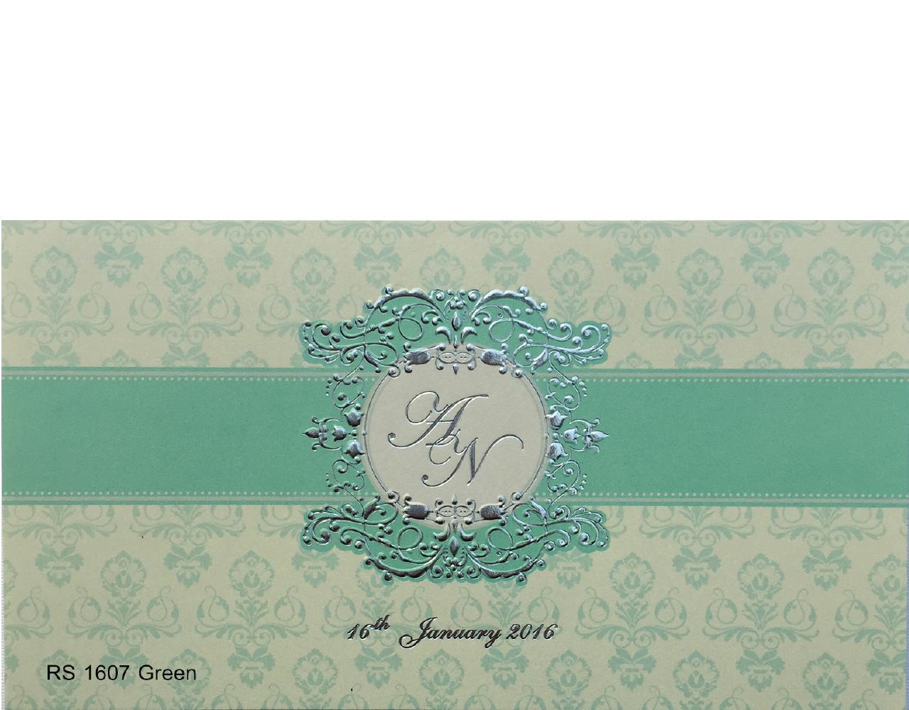 การ์ดแต่งงาน การ์ดเชิญแต่งงาน ราคาถูกๆ สีครีมเขียว wedding card 4x7.5 inch RS.1607