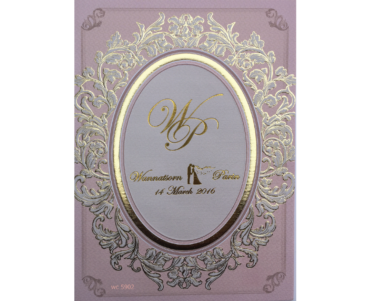 การ์ดแต่งงาน การ์เชิญ 2 พับ สีชมพู พิมพ์ทอง by Grace Greeting weddinng card 5x7 inch wc 5902