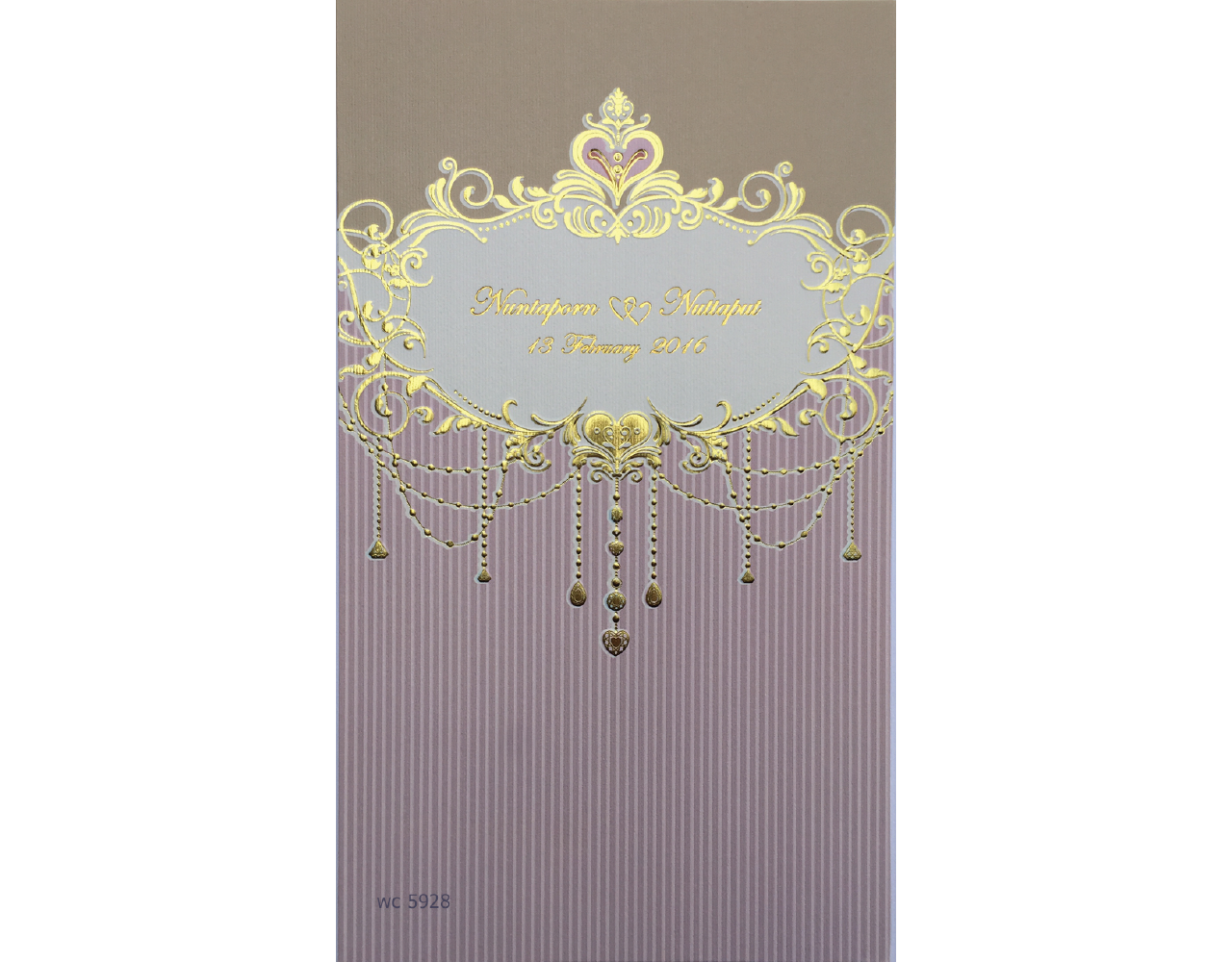 การ์ดแต่งงาน การ์ดเชิญสีชมพู 2 พับ wedding card 5x8.5 inch wc 5928