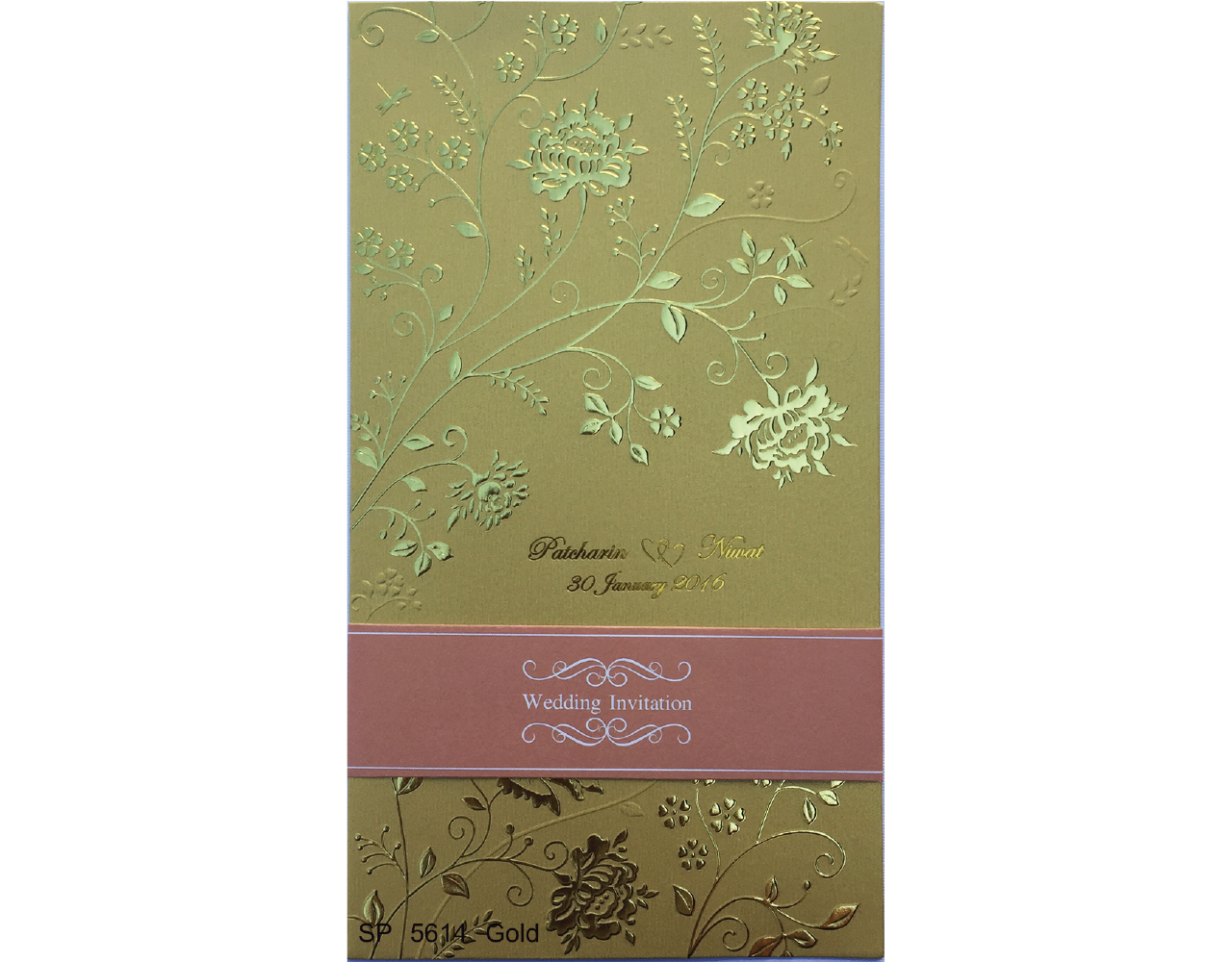 wedding card 5×9 inch SP 5614 Gold