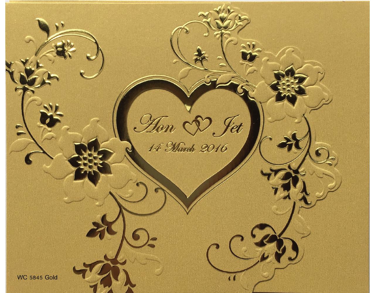 การ์ดแต่งงาน การ์ดชิญงานแต่ง สีมุกทอง สามพับ ไดคัทหัวใจ ลายดอกไม้ พิมพ์นูน พิมพ์ทอง wedding card 6.5 x 5.3 inch wC 5845 Gold