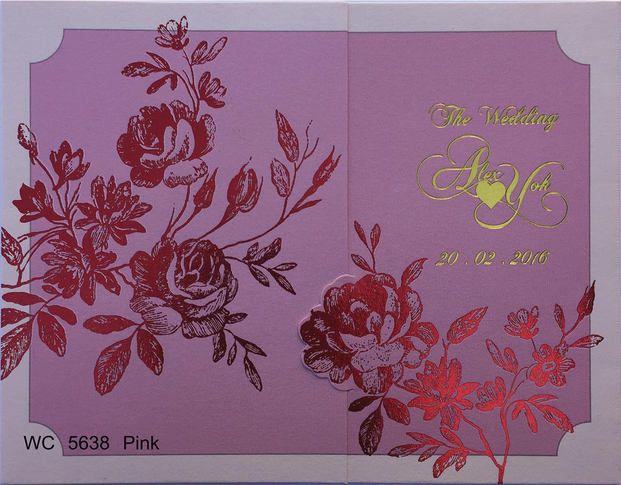 การ์ดแต่งงาน 6.5×5 inch WC 5638 Pink