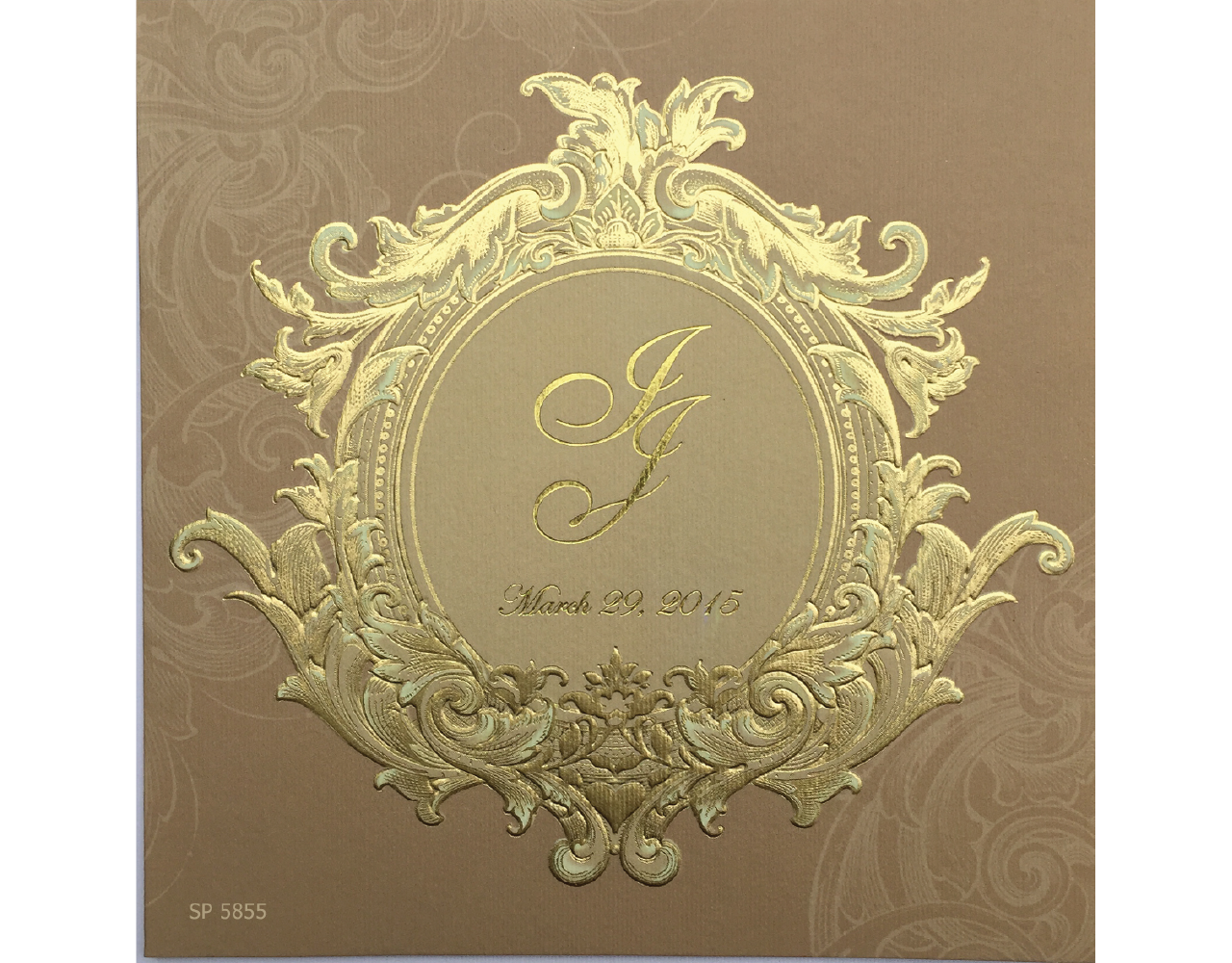 การ์ดแต่งงาน การ์ดเชิญงานแต่ง สีครีมน้ำตาล ดีไซน์ เรียบหรู by Grace Greeting wedding card 6.5x6.5 inch sp 5855