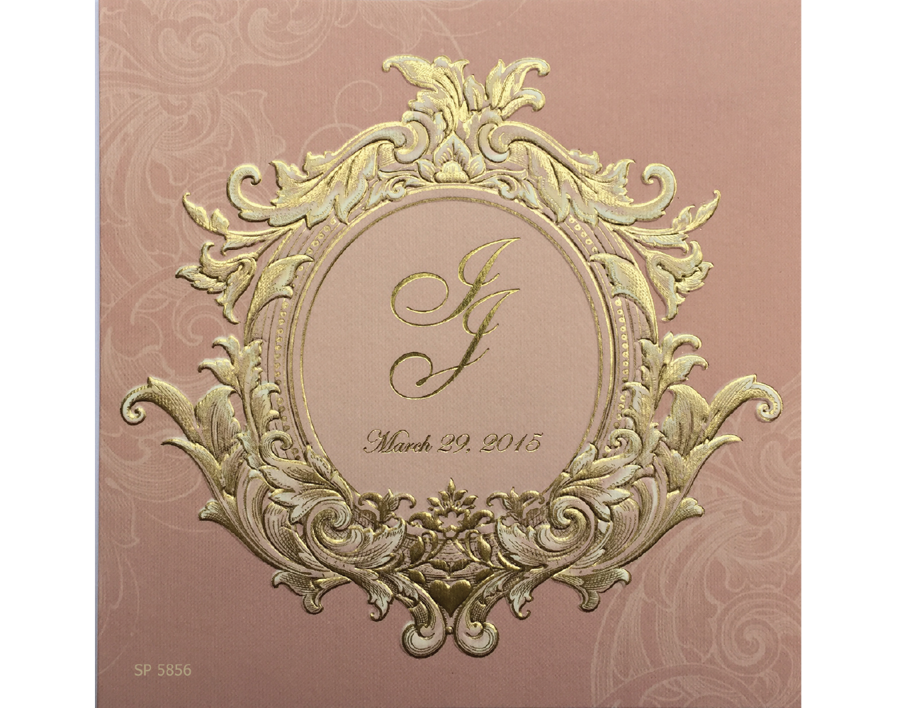 การ์ดแต่งงาน การ์ดเชิญงานแต่ง ดีไซน์เรียบหรู สีชมพู ลวดลายปั๊มนูน ปั๊มฟอยล์การ์ดพร้อมซอง wedding card 6.5x6.5 inch sp 5856