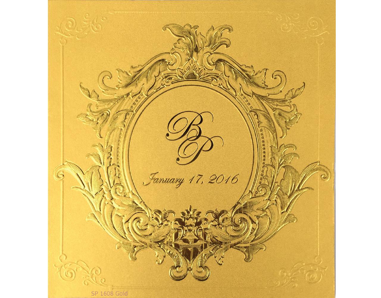 การ์ดแต่งงาน การ์ดเชิญงานแต่ง แบบหรู ๆ สีมุกทอง การ์ด ซอง และกระดาษไส้ใน wedding card 6.5x7 inch SP 1608 Gold