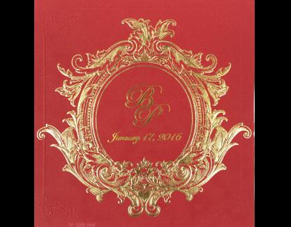 การ์ดแต่งงาน การ์ดเชิญสีแดง ปั๊มนูน พิมพ์ทอง พร้อมกระดาษไส้ใน by Grace Greeting wedding card 6.5x7 inch SP 1608 Red