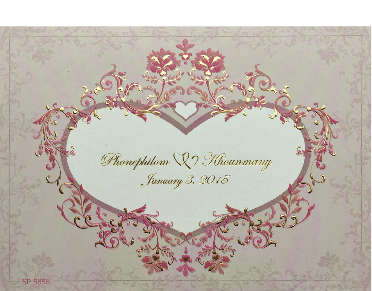 การ์ดแต่งงาน การ์ดเชิญงานแต่ง ลายดอกไม้เลื้อย น่ารัก ปั๊มนูน สองพับ การ์ดพร้อมซอง wedding card 6x8.5 inch SP 5858