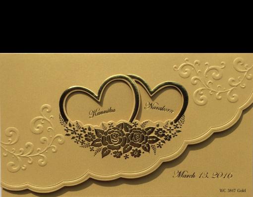 การ์ดแต่งงาน 7.3 x 4.2 inch wc 5847 Gold