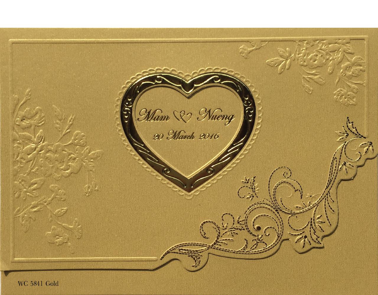 การ์ดแต่งงาน การ์ดเชิญงานแต่ง สามพับ ไดคัทหัวใจ ปั๊มนูน พิมพ์ทองบนลวดลาย wedding card 7.3 x 5.2 inch wc 5841 Gold