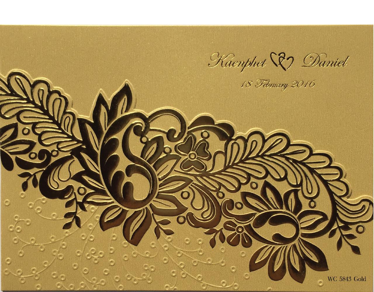การ์ดแต่งงาน การ์ดเชิญงานแต่ง สีมุกทอง การ์ดสามพับ ไดคัทไม้เลื้อย พิมพ์ทอง ปั๊มนูน wedding card 7.3 x 5.2 inch wc 5843 Gold