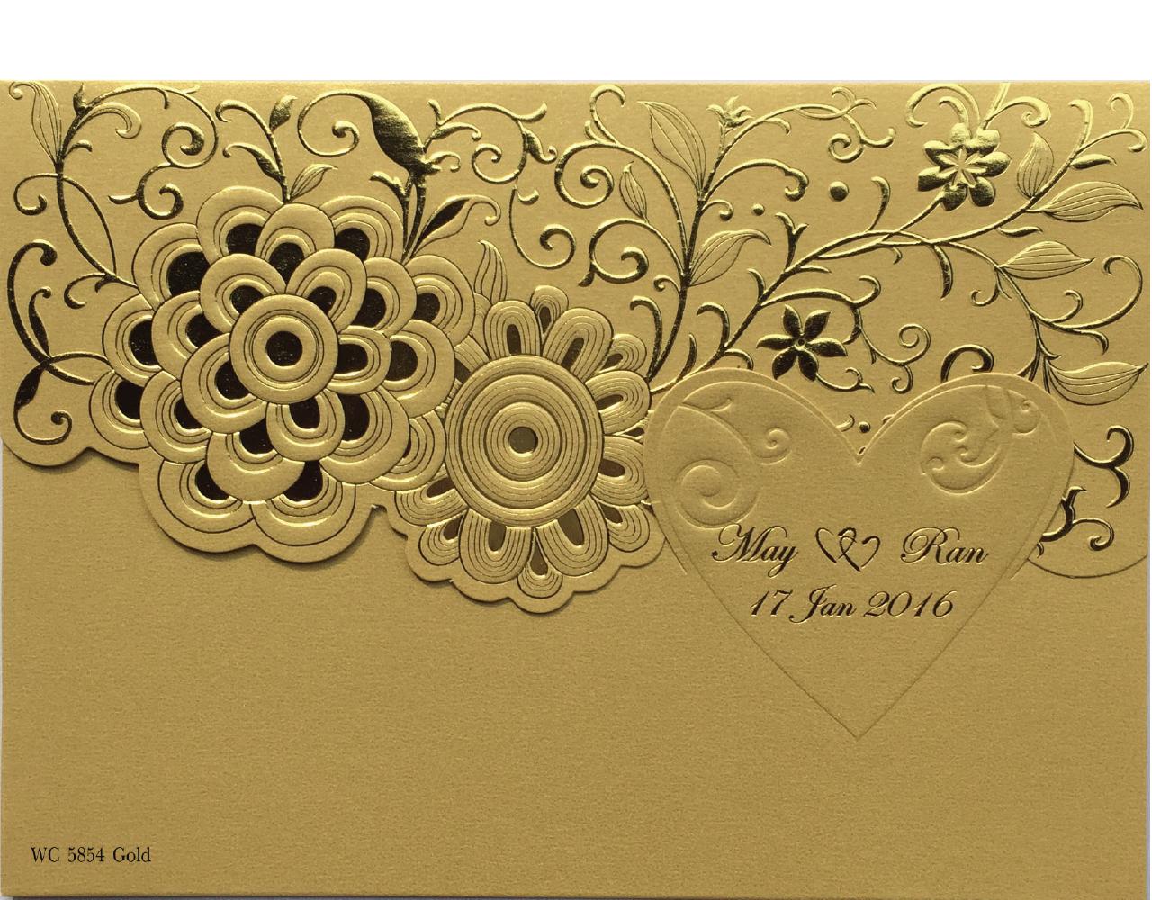 wedding card 7.4 x 5.2 inch wc 5854 Gold