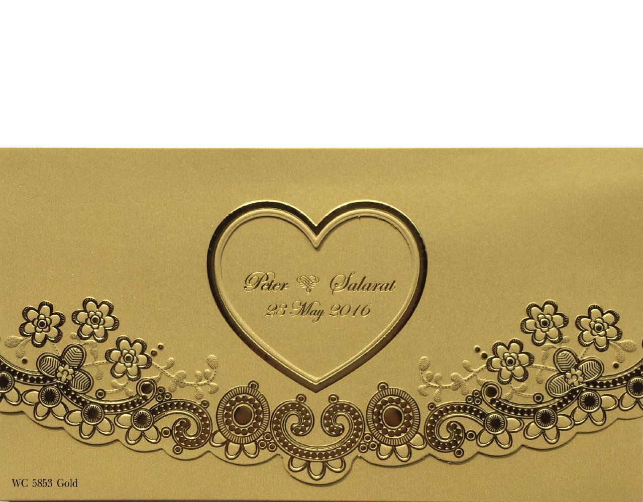 การ์ดแต่งงาน การ์ดเชิญ สีมุกทอง สามพับ ปั๊มนูน พิมพ์ทองเค 7.9 x 4.4 inch wc 5853 Gold