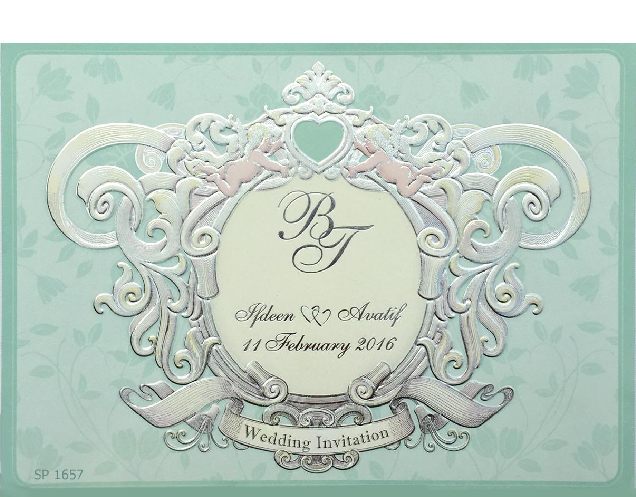 การ์ดแต่งงาน การ์เชิญงานแต่ง แบบเรียบหรู สีเขียว ปั๊มนูน พิมพ์เคเงิน 8.5x6 inch SP 1657