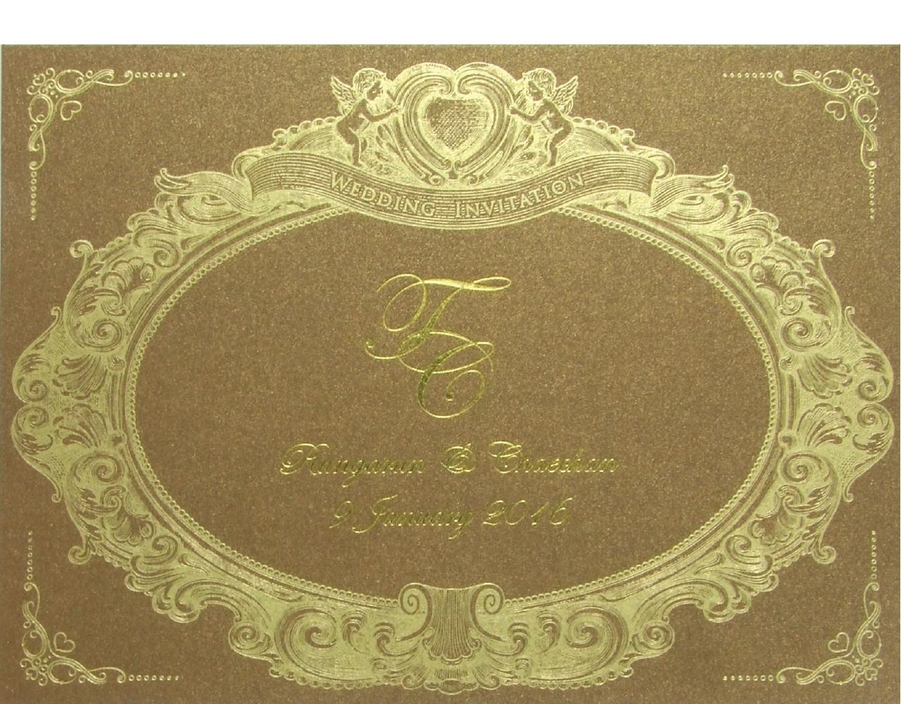การ์ดแต่งงาน การ์ดเชิญ ใบเดี่ยว กระดาษมุกน้ำตาล พิมพ์ทอง Wedding 15 x 20 cm-03-03