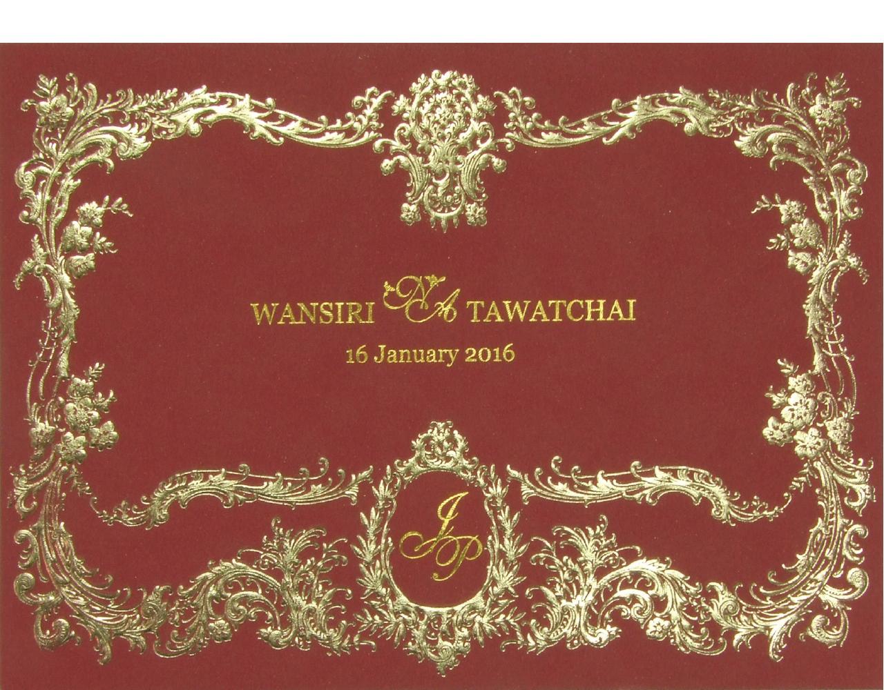 กา่ร์ดแต่งงาน การ์ดเชิญงานแต่ง สีแดงขนาดใหญ่ แบบหรูๆ ปั๊มนูน พิมพ์ทองเค Wedding 15.3 x 21.3 cm SP 1605 Red