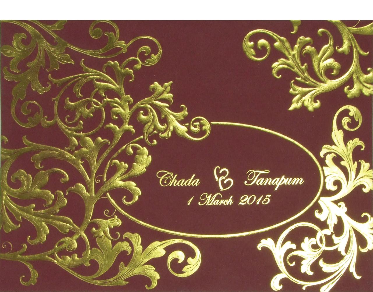 การ์ดแต่งงาน การ์ดเชิญสีแดงเลือดหมู ใบใหญ่ ลวดลายเรียบหรู ปั๊มนูน พิมพ์ทอง Wedding 15.3 x 21.3 cm SP 5802 Carmine