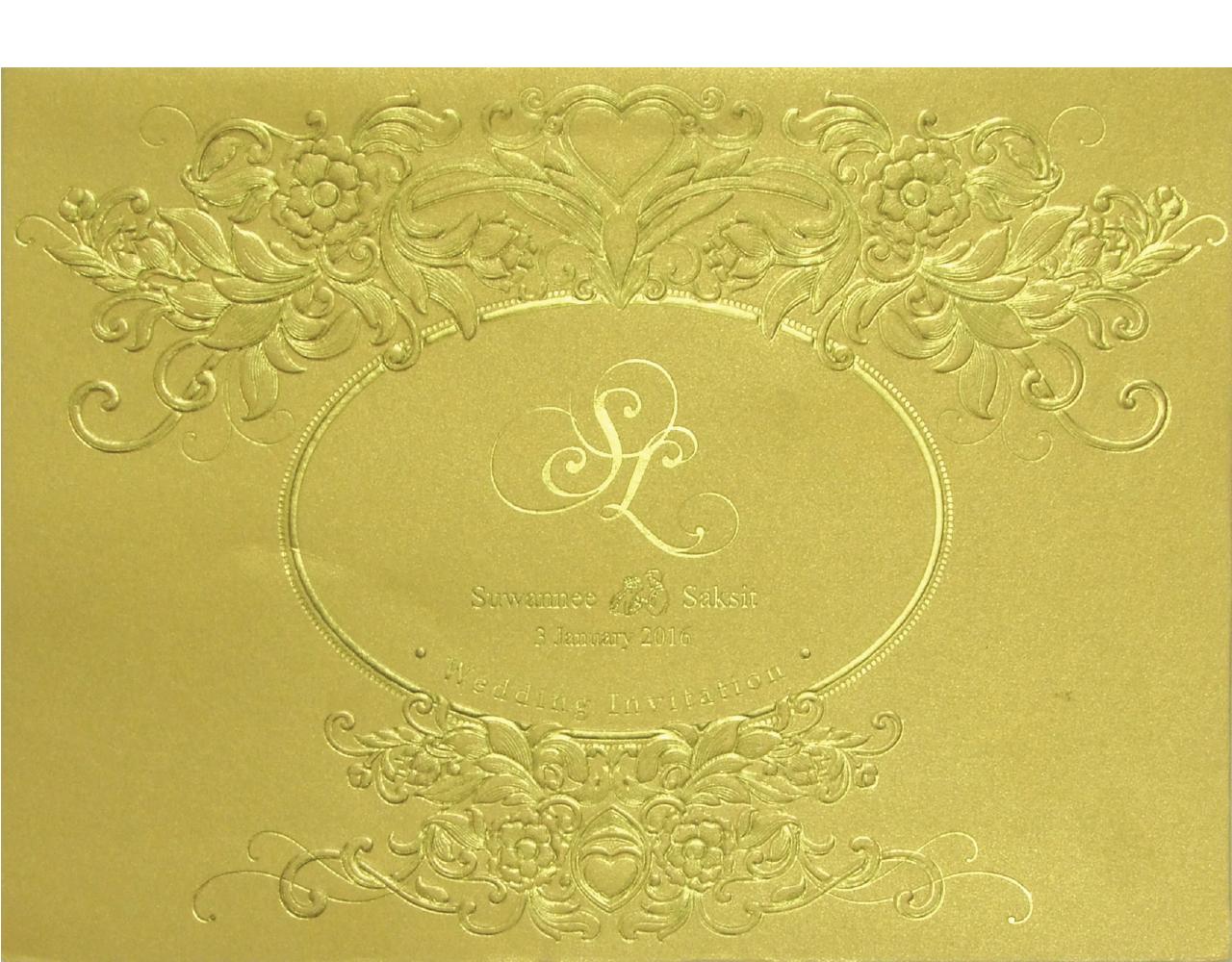 การ์ดแต่งงาน การ์ดเชิญงานแต่ง สีมุกทอง แบบหรูๆ ใบใหญ่ ปั๊มนูน พิมพ์ทองเค Wedding 15.3 x 21.3 cm SP 5815 Gold