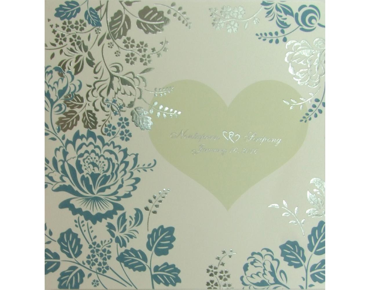 การงินดแต่งงาน การ์ดเชิญ ลวดลายดอกไม้ สีครีมฟ้า ปั๊มนูน พิมพ์เงิน by Grace Greeting Wedding 16.2 x 16.5 cm SP 5707 Cream