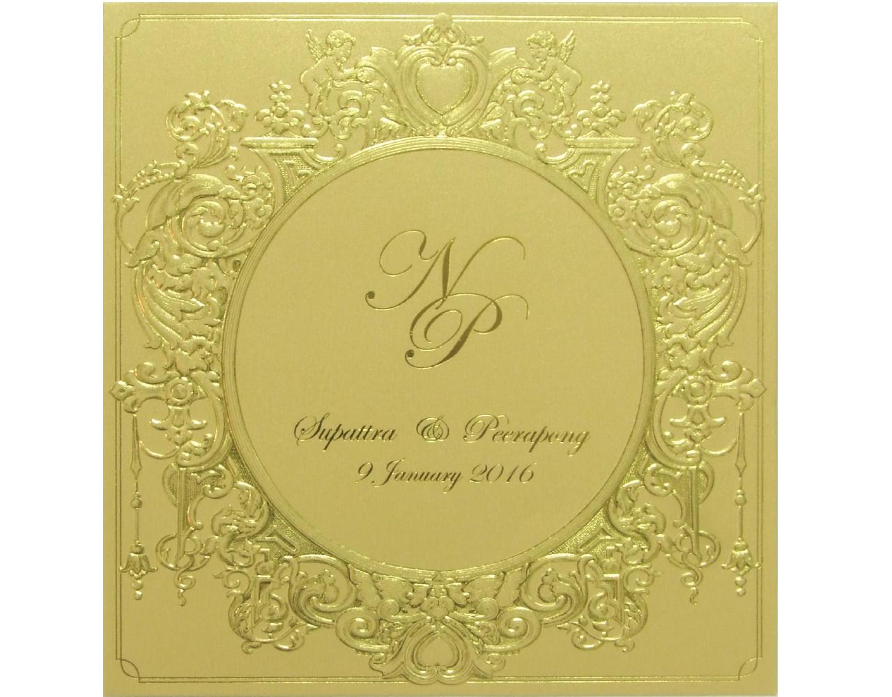 การ์ดแต่งงาน การ์ดเชิญ กระดาษมุกทอง พิมพ์ทอง ปั๊มนูน การ์ดพร้อมซอง Wedding 16.2 x 16.5 cm SP 5812 Gold