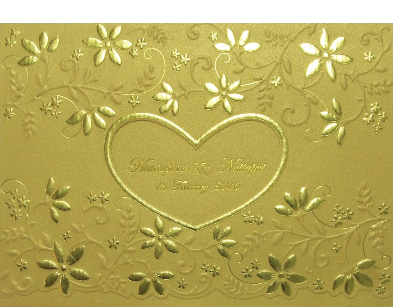 การ์ดแต่งงาน การ์ดเชิญงานแต่ง ลายดอกไม้ น่ารัก ปั๊มนูน ปั๊มฟอยล์ 3 พับ กระดาษมุกทอง Wedding Card 13 x 18.3 cm WC 5931 Gold