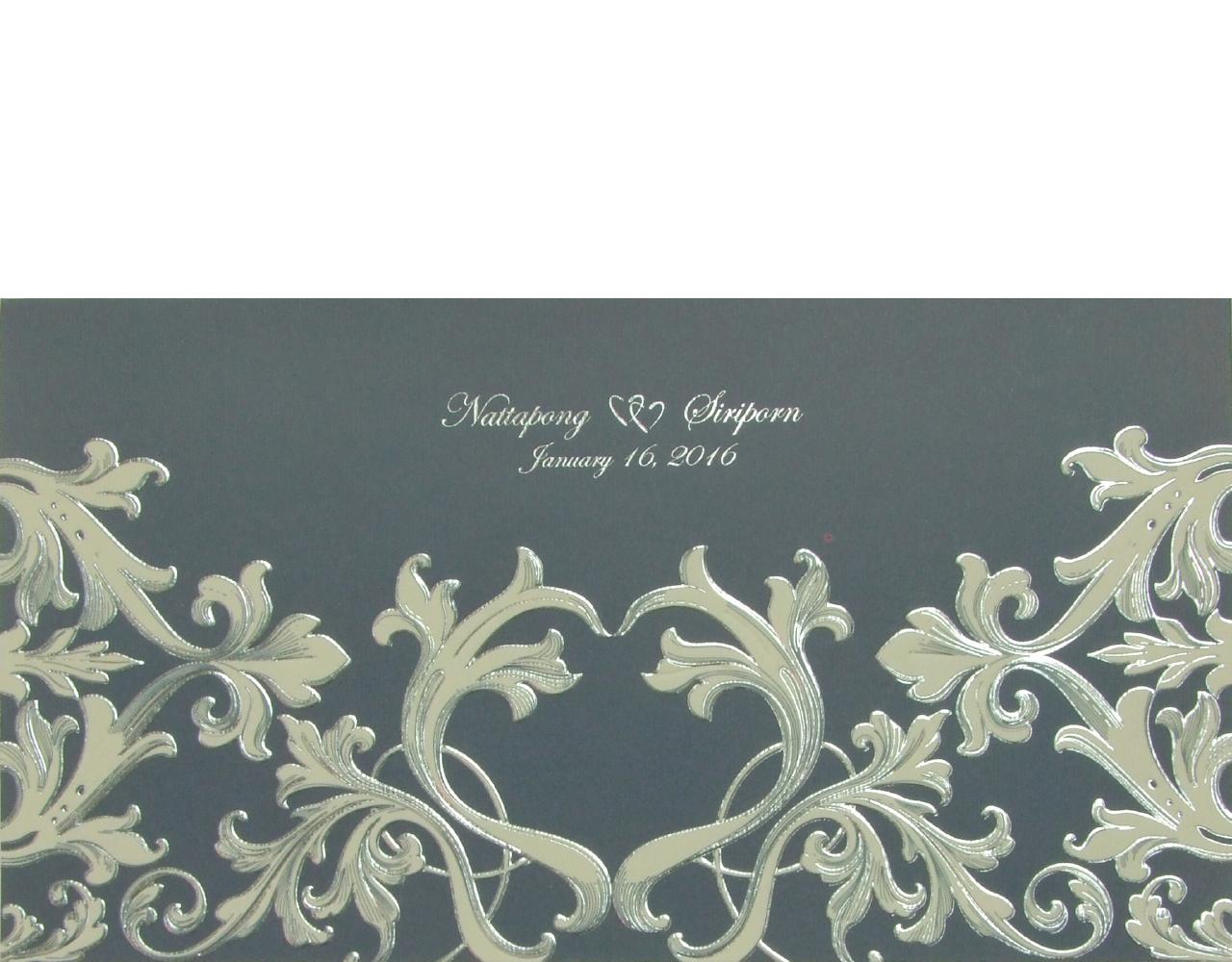 การ์ดแต่งงาน การ์ดเชิญ สีน้ำเงิน พิมพ์เคเงิน ปั๊มนูน 12x22 cm SP 5711 ฿ 9.50