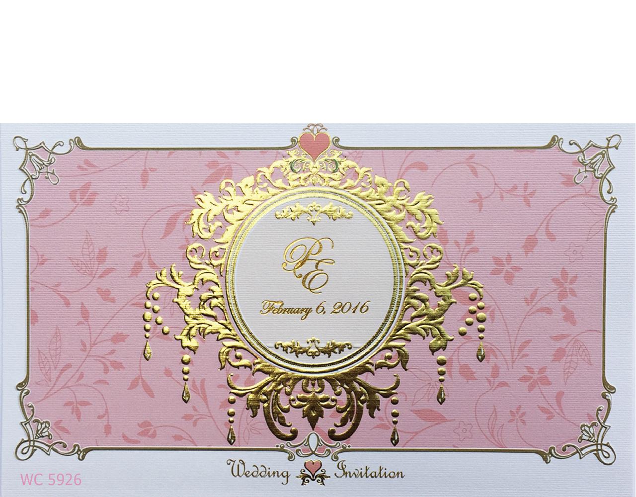 การ์ดแต่งงาน การ์ดเชิญงานแต่ง สีชมพู ลวดลายเรียบหรู แนวนอน ปั๊มนูน พิมพ์ทอง wedding card 12.2 x 21.2 cm WC 5926 Pink ฿ 7.50