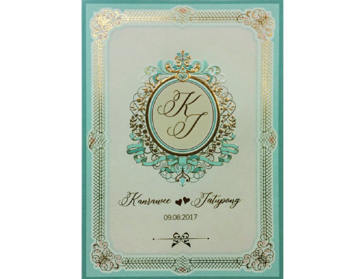 การ์ดแต่งงาน SP 1751สีครีมเขียว Wedding card 21.3 x 15.3 cm