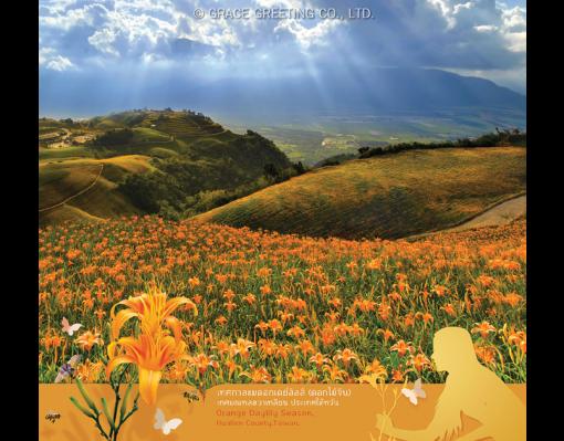 ปฏิทินตั้งโต๊ะ ปี 2561 CT.6108 Flower Blooming Season August